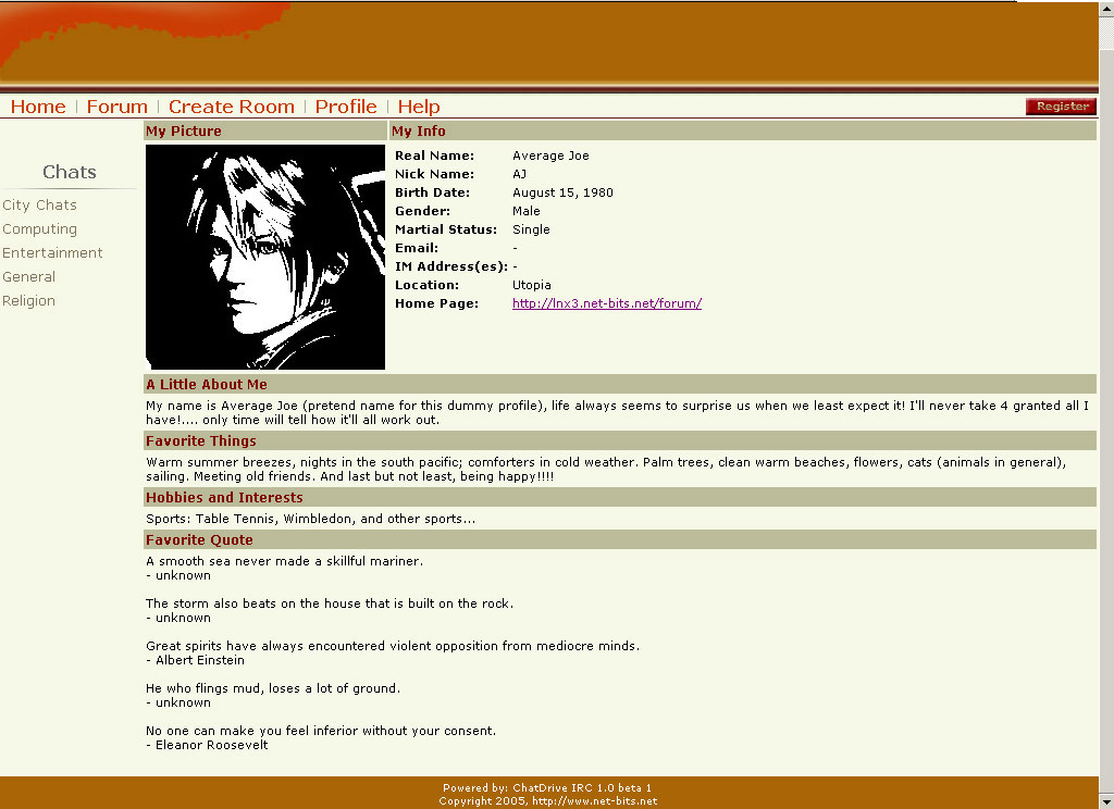 ircWx System Website: User Profile Page Original 2006 Theme
